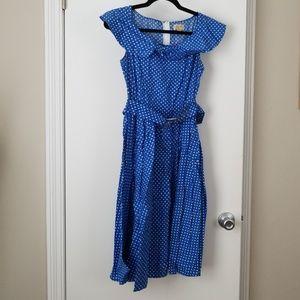 Blue polkadot lindy Bop 1950s inspired pinup dress